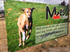 Moe's Meats banner at Ross Dog Park in Vancouver