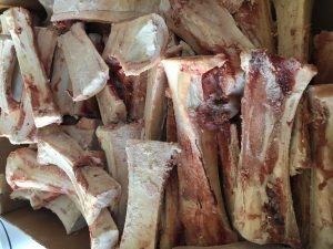 This is how the split marrow bones arrive in case form at Moe's Meats and Bones.