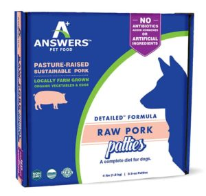 Answers Pet Food, Pork Patties, 4 Pounds