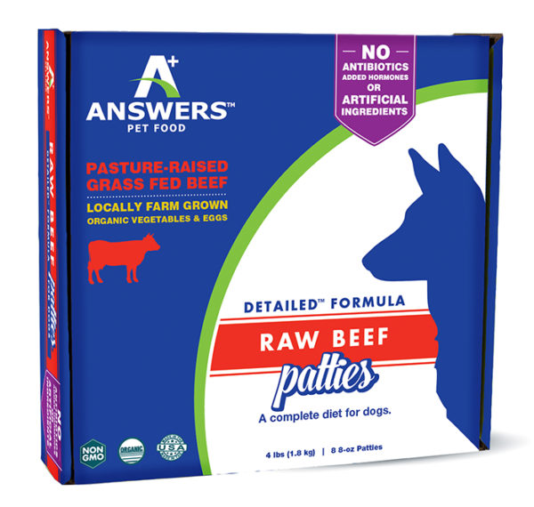 Answers Pet Food, Beef Patties, 4 Pounds