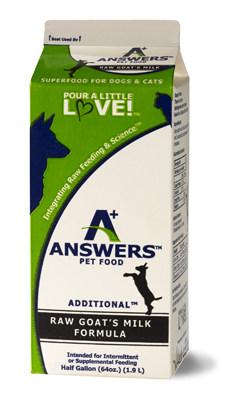 Answers Pet Food, Fermented Goat's Milk, Options